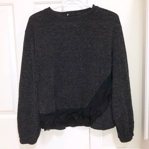 💙 2/30 Charcoal Grey Balloon Sleeve Lace Sweater